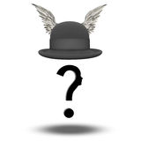 Question. Face with WInged Bowler Hat Stock Photos