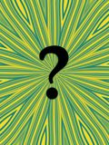 Question. Mark on funky yellow and green background Stock Photography