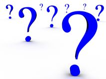 Question. 3d question marks on white background Royalty Free Stock Images