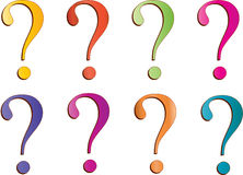 Question. Mark in multicolor with white background Stock Photos