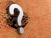 Question. Abstract 3d illustration of metal question symbol hitting wall Royalty Free Stock Image