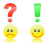 Question and answer. Question and exclamation marks smiles Royalty Free Stock Images