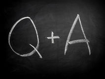 Question and answer. On blackboard royalty free stock image
