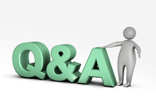 Question and answer. In green colors Stock Photos