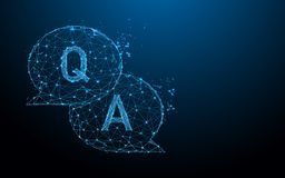 Question & Answer bubble chat form lines, triangles and particle style design vector illustration