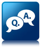 Question answer bubble icon blue square button Royalty Free Stock Photos