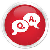 Question answer bubble icon premium red round button Royalty Free Stock Images