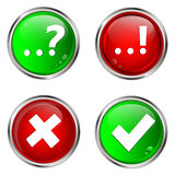 Question, answer and check mark buttons. Stock Photo