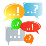 Question and answer marks. Question and answer marks with speech bubbles Royalty Free Stock Photos