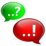 Question and answer marks with speech bubbles. Red and green Stock Image
