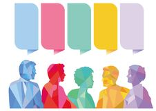 Question and Answer Speech bubbles with group of people, royalty free stock photos