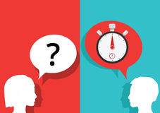 Question and answer stopwatch timer Royalty Free Stock Photos