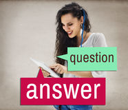 Question Answer Tablet Lady Casual Concept Stock Photography