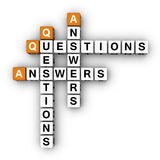 Question and Answers. (3D crossword orange series Royalty Free Stock Images