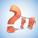 Question and answers. The exclamation points drop a question mark royalty free illustration