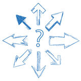 Question Arrows All Directions Stock Photography