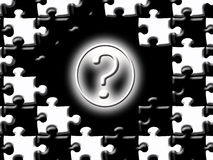 Question Background. An illustrated black & white background of a question mark surrounded by puzzle pieces Stock Photo
