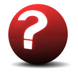 Question ball 3d. Red sphere with glowing question mark, 3d image Royalty Free Stock Photo