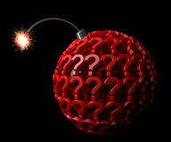 Question Bomb. With question marks. Black background, Burning fuse Version Stock Images