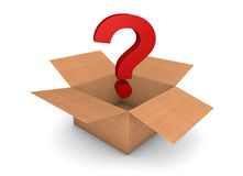 Question about the box. Opened cardboard box with question on something about the box vector illustration
