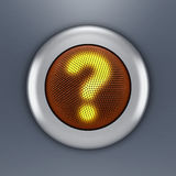 Question button concept. 3D illustration of a steel button which glowing question mark symbol Royalty Free Stock Image