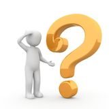 Question 2. The character has understood nothing and has many questions Stock Photos