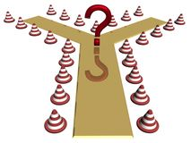 Question at a choice. Of a direction. 3D image Royalty Free Stock Images