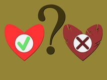 The question of choice. Two buttons to select answers on the question Royalty Free Stock Photography