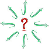 Question in a circle of green arrows. Royalty Free Stock Images