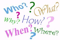 Question Collage. Collage of question words and question marks Royalty Free Stock Images