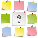 Question Colored Sticks Pins. Colored sticks with question mark and pins on the white background Stock Illustration