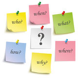 Question Colored Sticks Pins. Colored sticks with questions and pins on the white background Vector Illustration