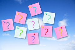 Question Concept on Blue Sky. Question Concept - notes pinned to a blue sky with question marks royalty free illustration