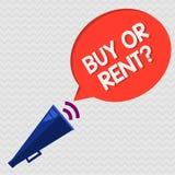 Question conceptuelle d'achat ou de loyer d'apparence d'écriture de main Doute de présentation de photo d'affaires entre posséder illustration stock