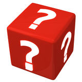 Question cube 3d. Red cube with question marks 3d Royalty Free Stock Images