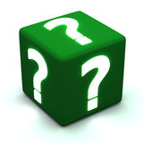 Question cube 3d. Green cube with glowing white question marks 3d image Stock Photos