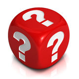 Question cube  3d illustration Stock Photos