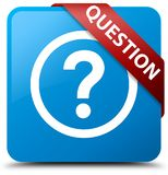 Question cyan blue square button red ribbon in corner. Question isolated on cyan blue square button with red ribbon in corner abstract illustration Royalty Free Stock Photos