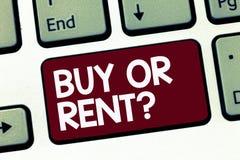 Question d'achat ou de loyer des textes d'écriture Le doute de signification de concept entre posséder quelque chose l'obtiennent illustration stock