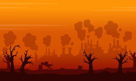 Question d'environnement de paysage sur le backgroud orange Images stock