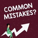 Question d'erreurs de terrain communal des textes d'?criture Concept signifiant l'homme d'affaires mal orienté ou faux d'acte ou  illustration libre de droits