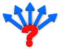 The question. 3d generated picture of a red question mark and five blue arrows Royalty Free Stock Photography