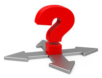 The question. 3d generated picture of a red question mark and four arrows Royalty Free Stock Photo