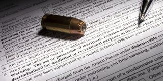 Question de marijuana sur une vérification des antécédents d'arme à feu de NICS Photos libres de droits