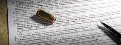 Question de santé mentale sur la forme de vérification des antécédents d'arme à feu Photos libres de droits