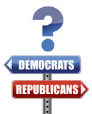 Question Democrats and Republicans illustration Stock Photos