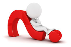question det liggande folket för fläck 3d white Royaltyfria Bilder