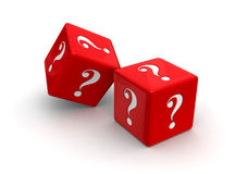 Question Dice. Photo-real illustration of two red dice engraved with question mark symbols on white background Stock Photo