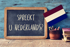 Question do you speak Dutch written in Dutch Stock Photos