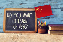 Question do you want to learn chinese? Royalty Free Stock Photography
